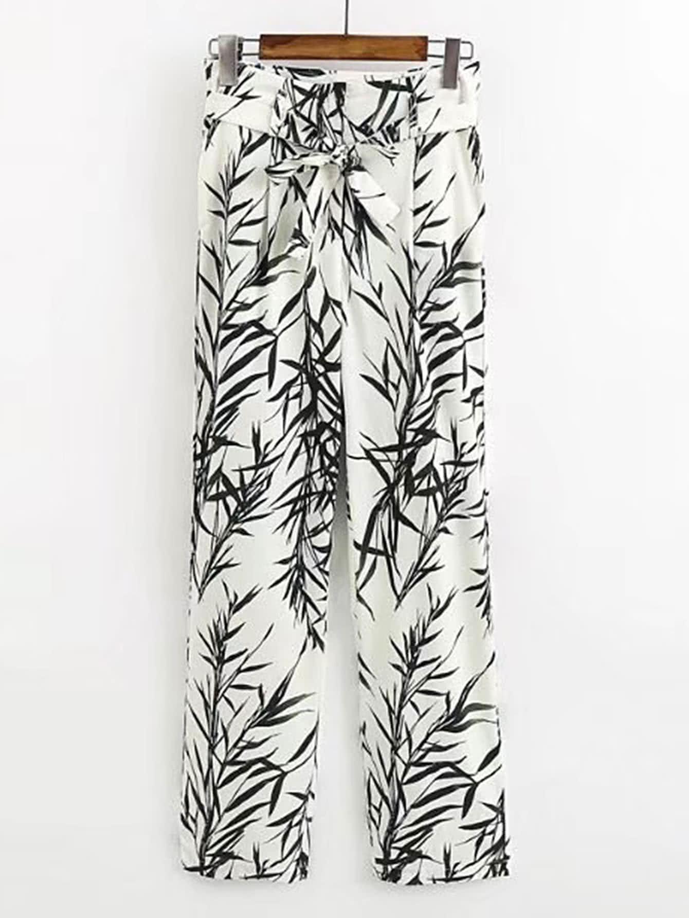 Фото Tie Waist Leaves Print Pants. Купить с доставкой