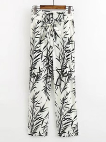 Tie Waist Leaves Print Pants