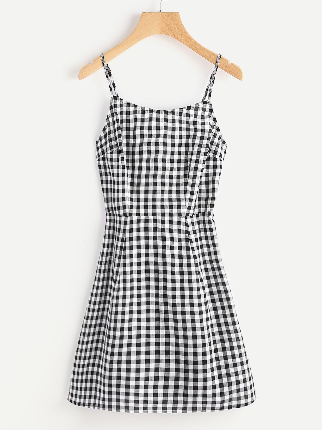 Купить Модное клетчатое платье на бретельках со шнуровкой, null, SheIn