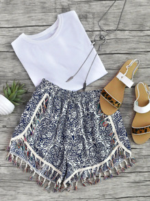 Damask Print Tassel Trim Wrap Shorts