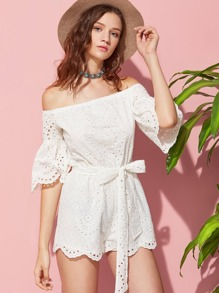 Scallop Edge Trumpet Sleeve Belted Eyelet Embroidered Romper