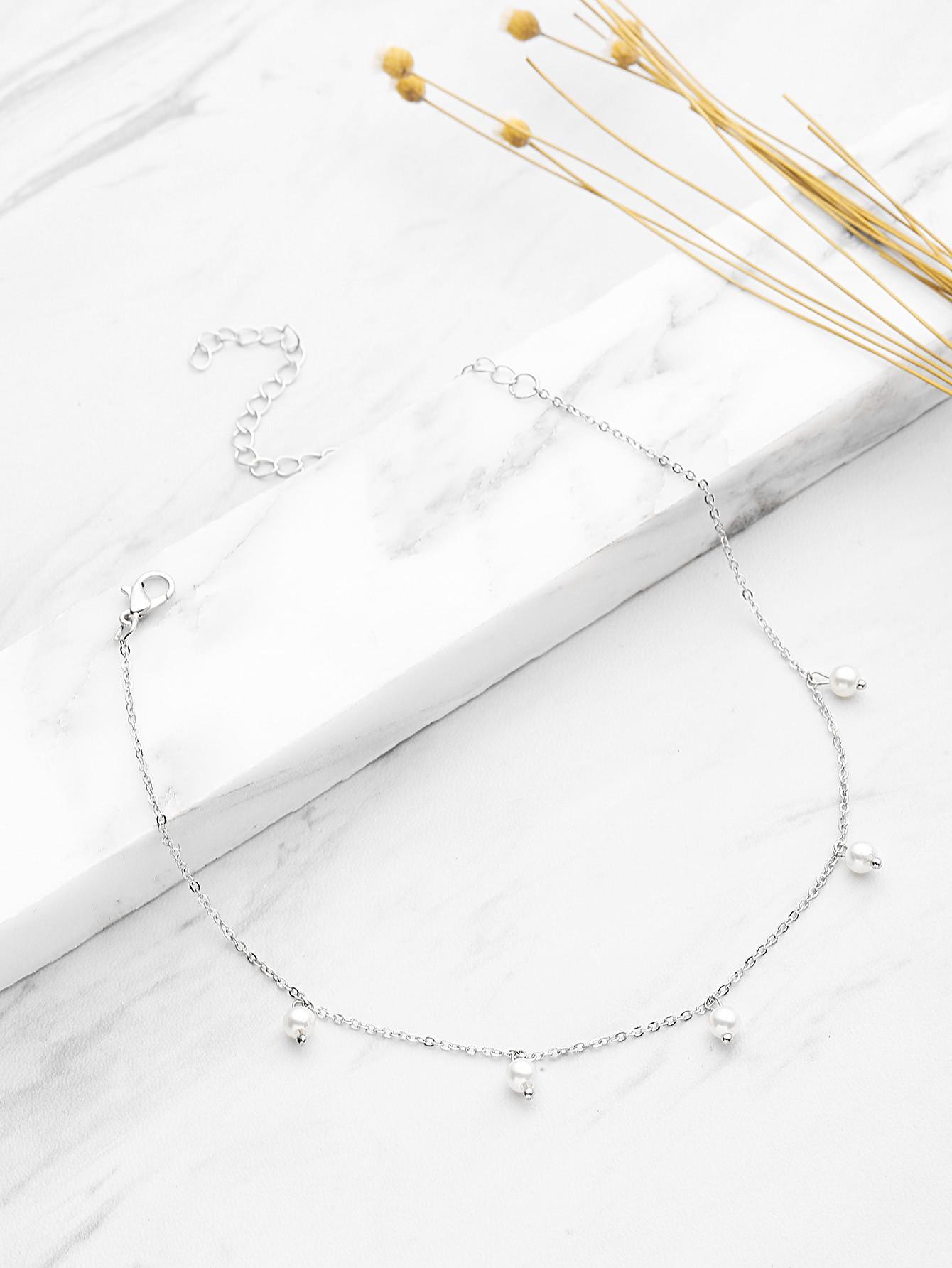 Фото Faux Pearl Embellished Chain Necklace. Купить с доставкой