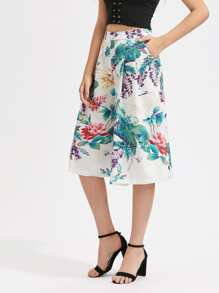 Flower Print Culotte Pants