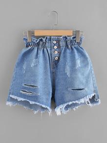 Shorts con una botonadura en denim de fruncido