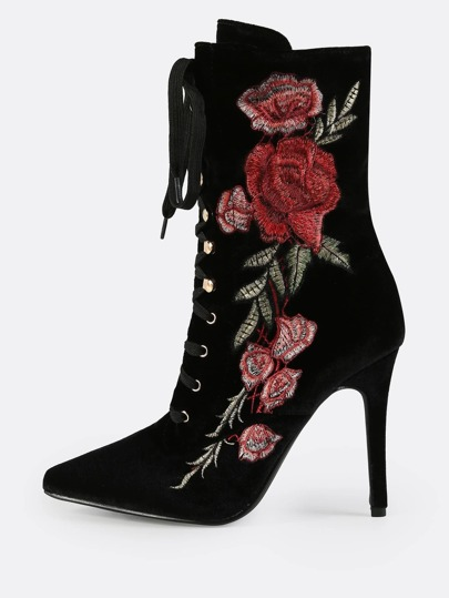 Floral Embroidered Velvet Lace Up Booties BLACK