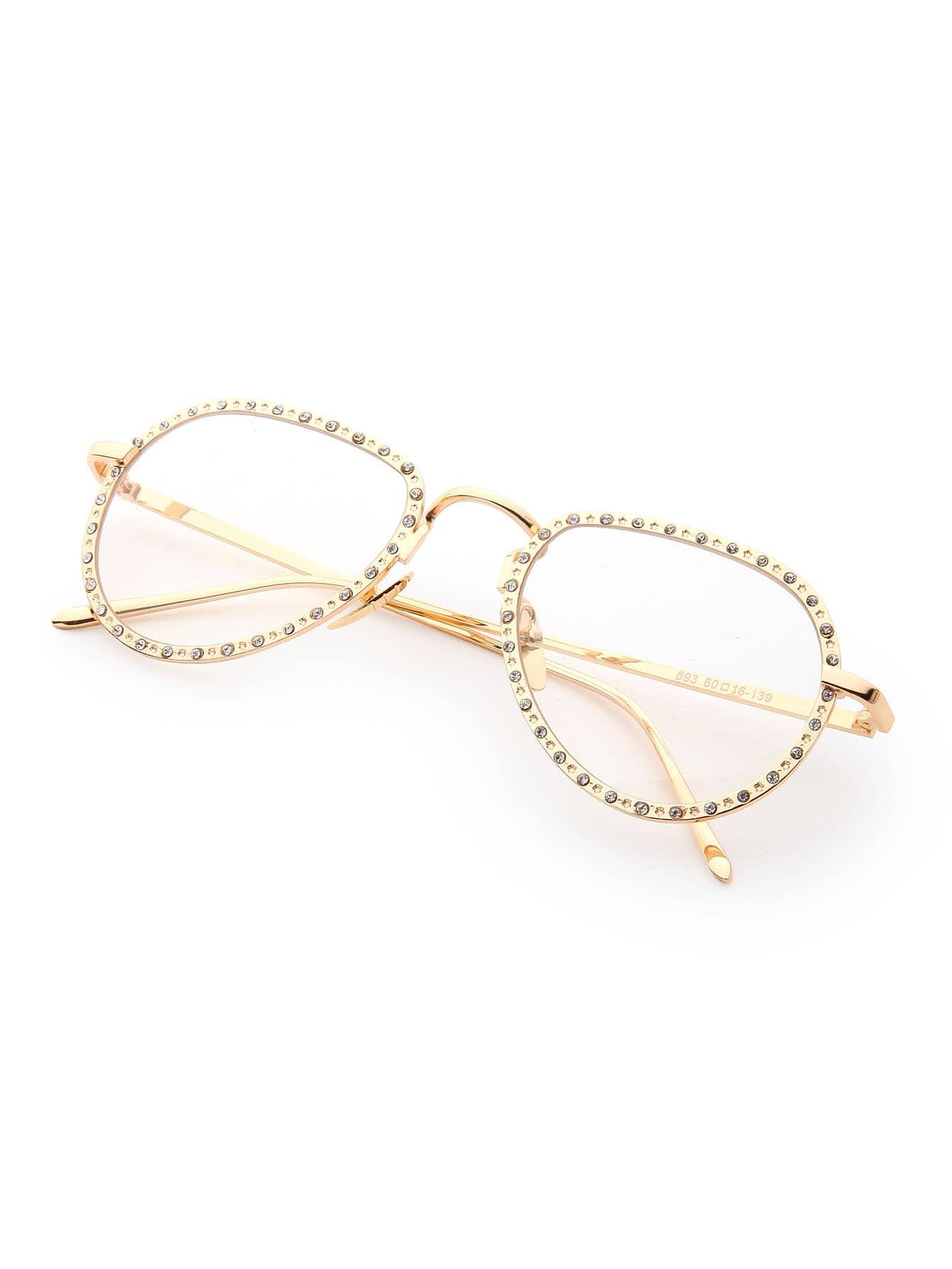 Rhinestone Embellished Frame Clear Lens Glasses sunglass170505306