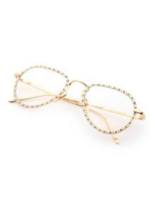 Rhinestone Embellished Frame Clear Lens Glasses