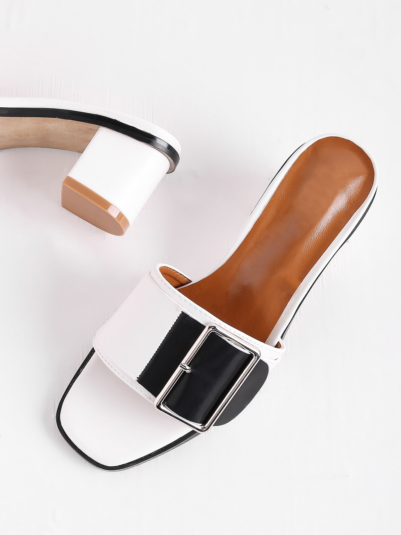 Фото Two Tone Buckle Detail Heeled Mules. Купить с доставкой