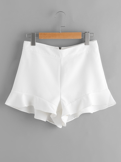 Frill Hem Zipper Back Shorts