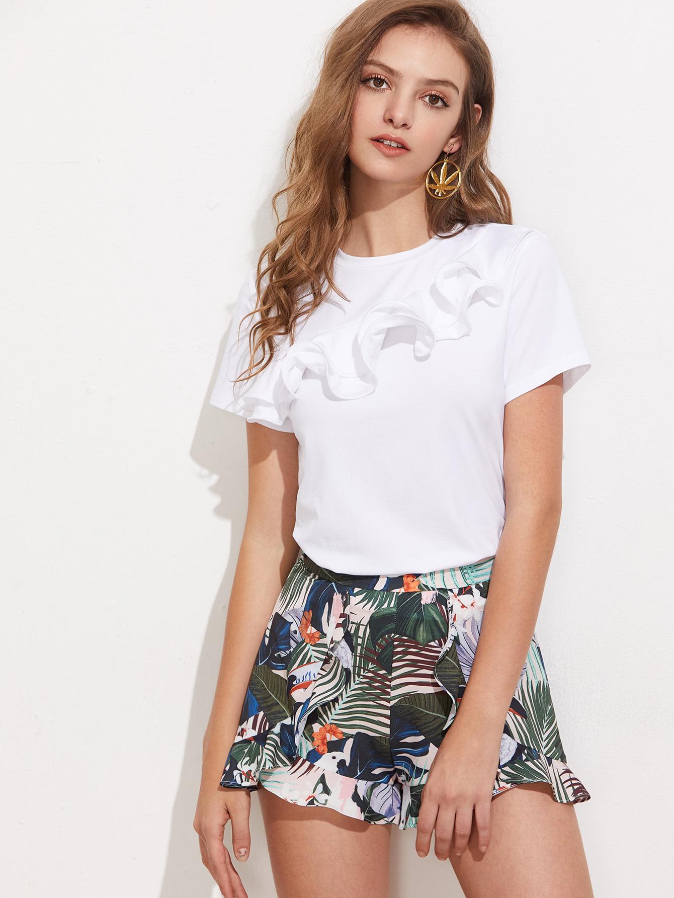 Layered Lettuce Hem Ruffle Trim T-shirt asymmetrical ruffle trim t shirt