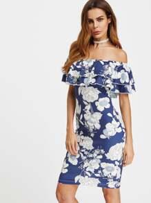 Robe imprimée avec épaules nues fleurs froufrous - Bleu