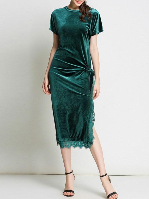 Фото Bowknot Contrast Lace Split Bodycon Dress. Купить с доставкой