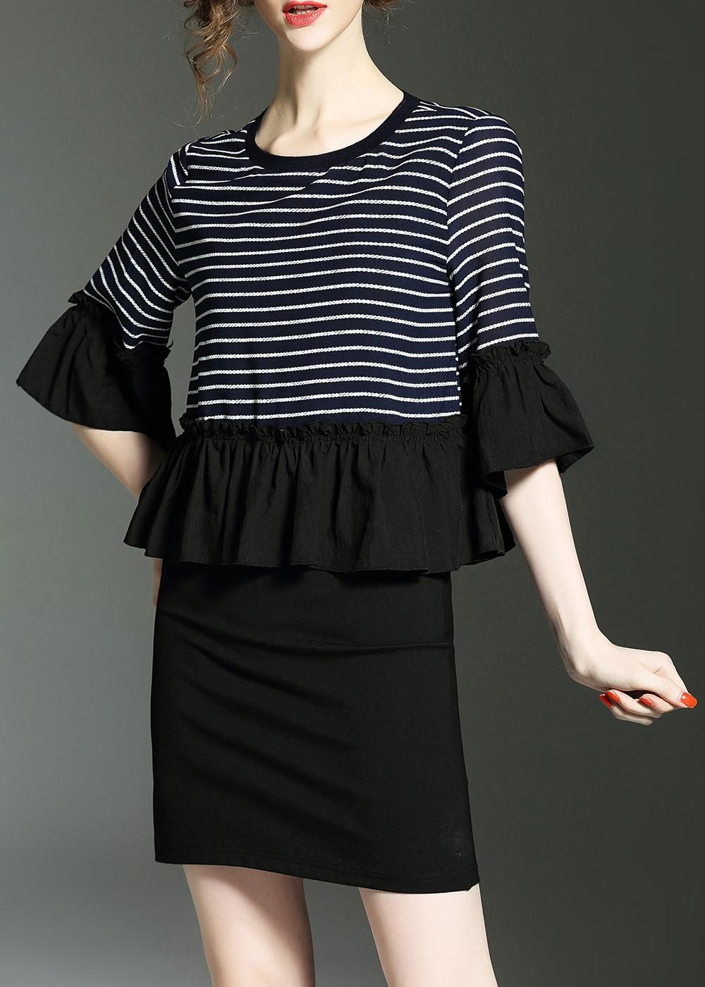 Фото Color Block Striped Bell Sleeve Peplum Dress. Купить с доставкой