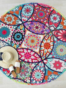 Calico Print Pom Pom Trim Round Beach Blanket
