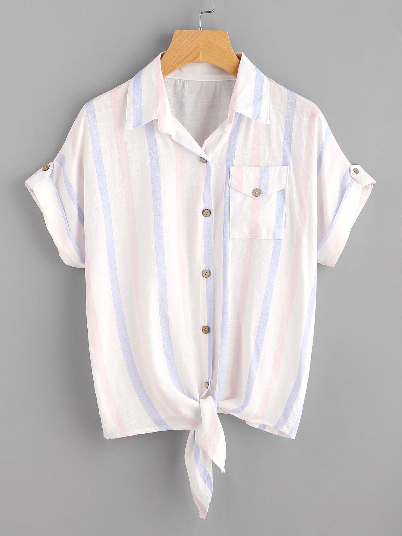 Фото Contrast Striped Knot Hem Pocket Blouse. Купить с доставкой