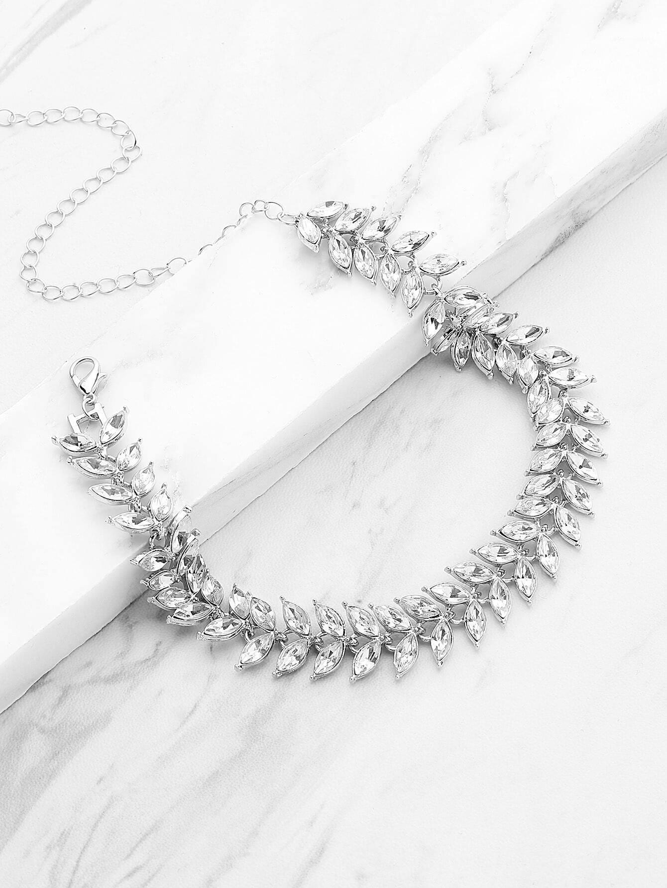 Фото Leaf Shaped Chain Necklace With Rhinestone. Купить с доставкой