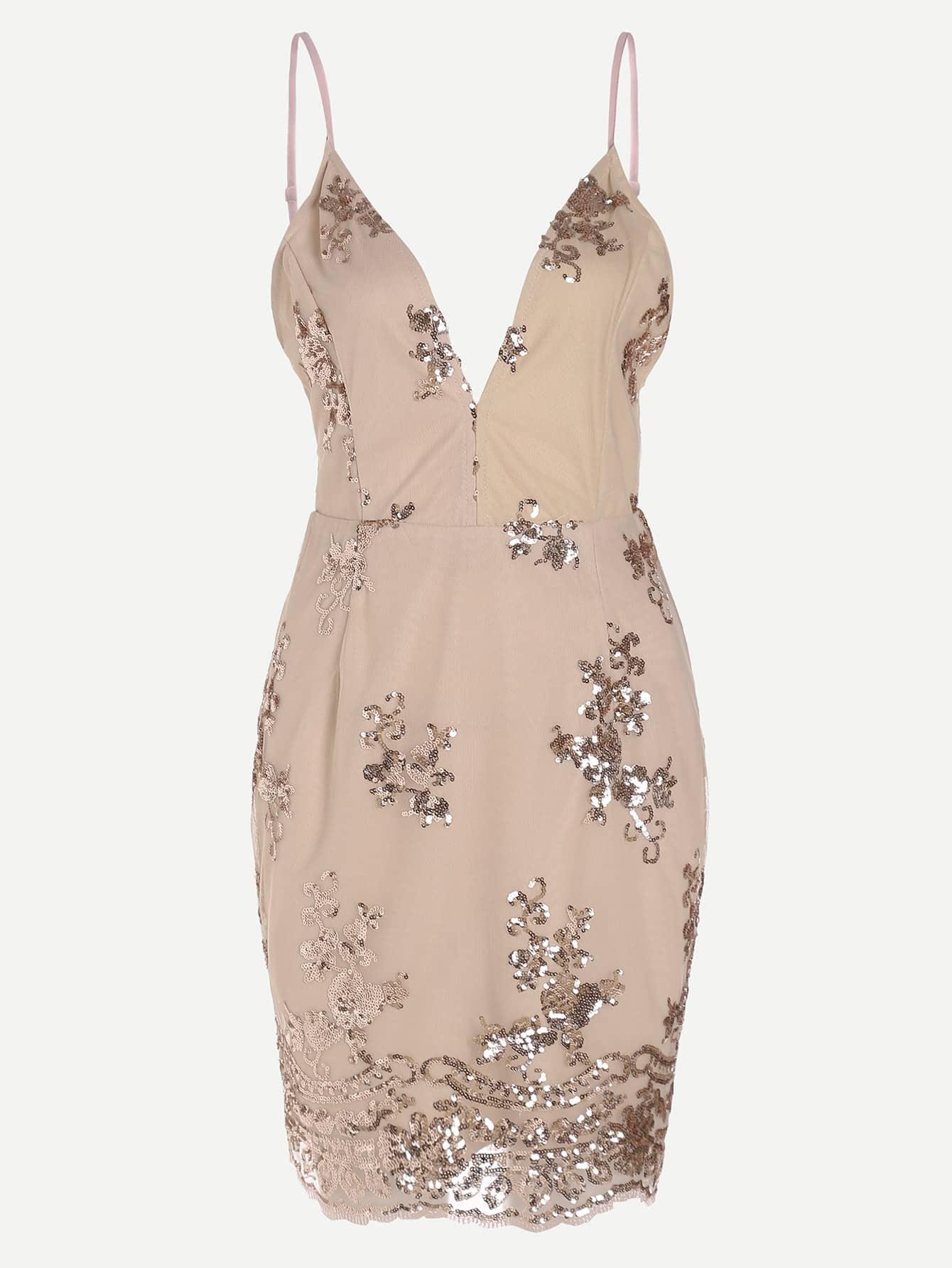Фото Cami Straps Sequin Detail Backless Dress. Купить с доставкой