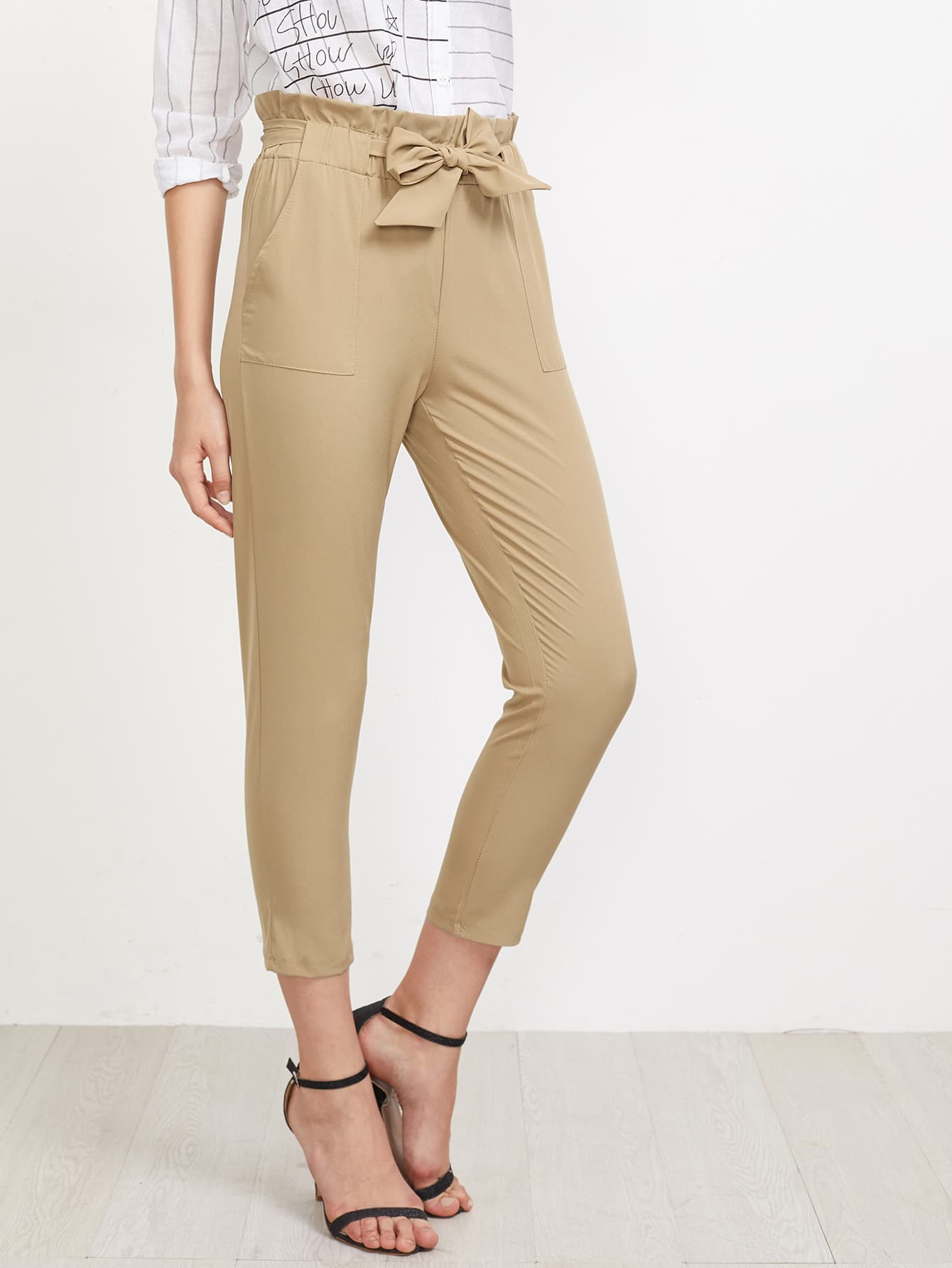 Image of Frill Waist Self Tie Tailored Pants