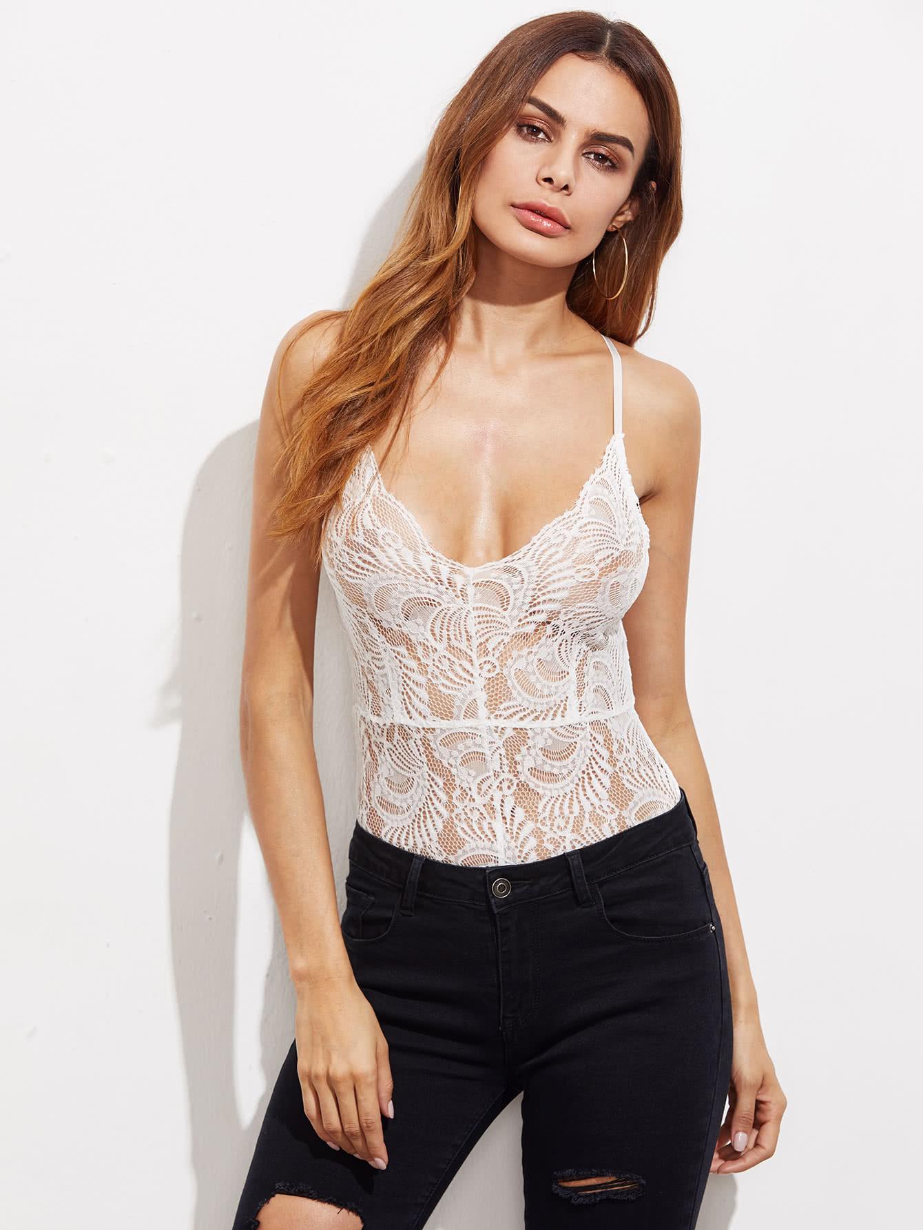 Crisscross Back Sheer Lace Bodysuit bodysuit170516703