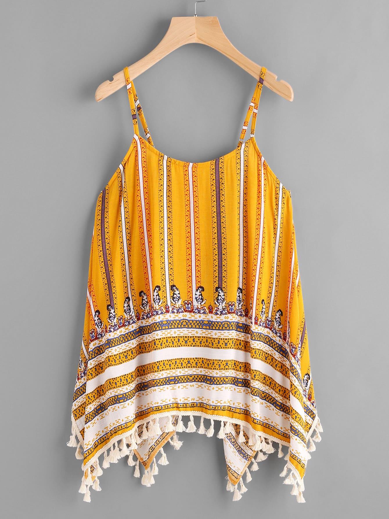 Tribal Print Tassel Hanky Hem Cami Top tie dye print crisscross hanky hem smock cami top