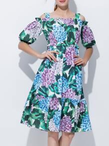 Boat Neck Flowers Print Flounce Dress