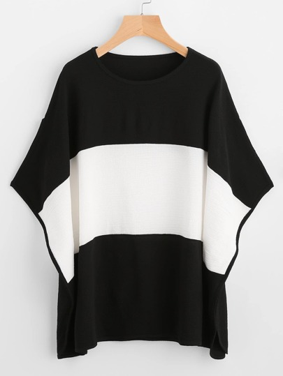 Color Block Wide Striped Batwing Sleeve Tee