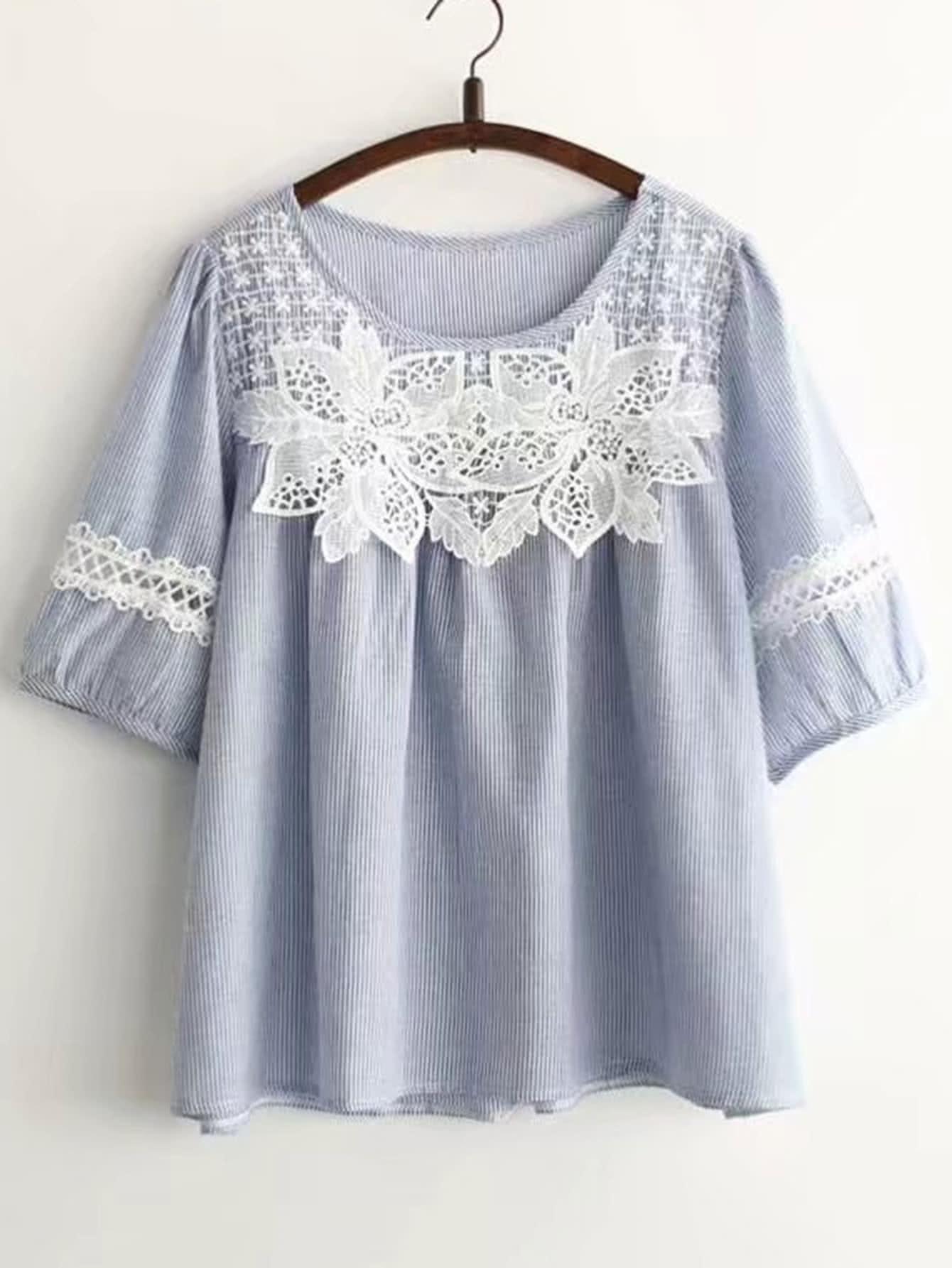 Фото Contrast Lace Applique Pinstripe Top. Купить с доставкой