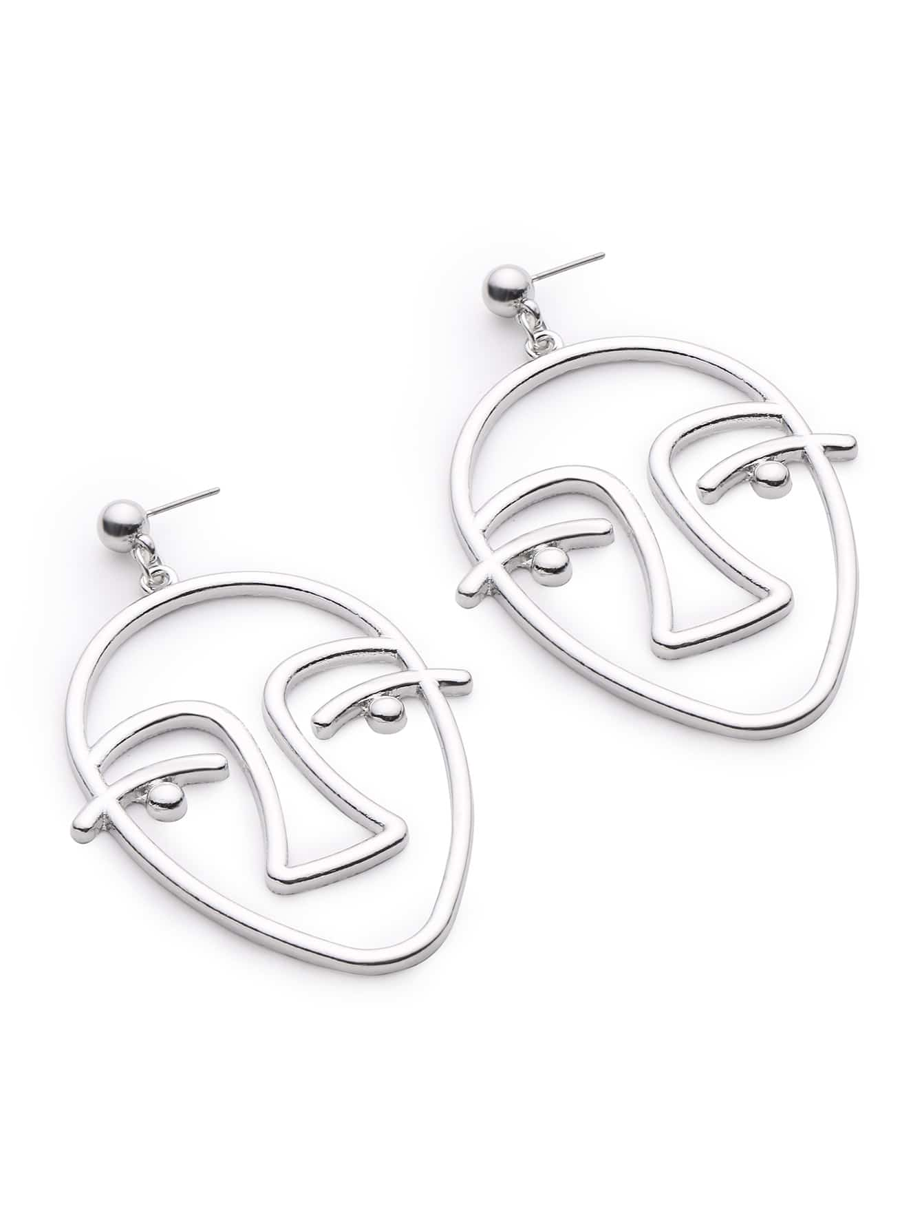 Metal Face Shaped Drop Earrings hollow water drop shaped drop earrings