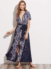 Floral Print Plunging Neck Belted M-Slit Dress