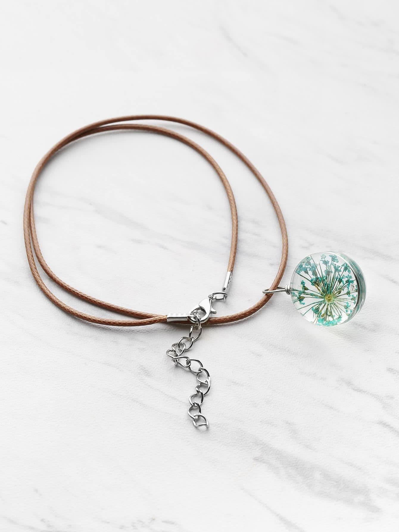 Фото Contrast Glass Flower Pendant Necklace. Купить с доставкой