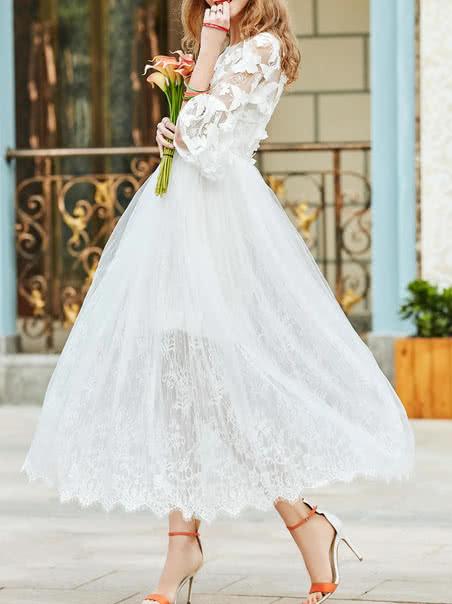 Фото Bell Sleeve Butterfly Applique Dress. Купить с доставкой
