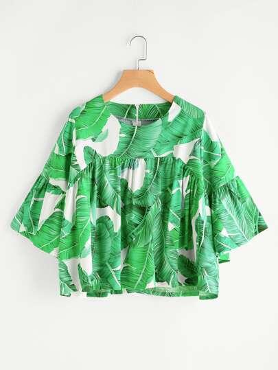 Palm Leaf Print Zipper Back Smock Blouse