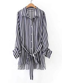 Vertical Striped Tie Waist High Low Shirt Dress