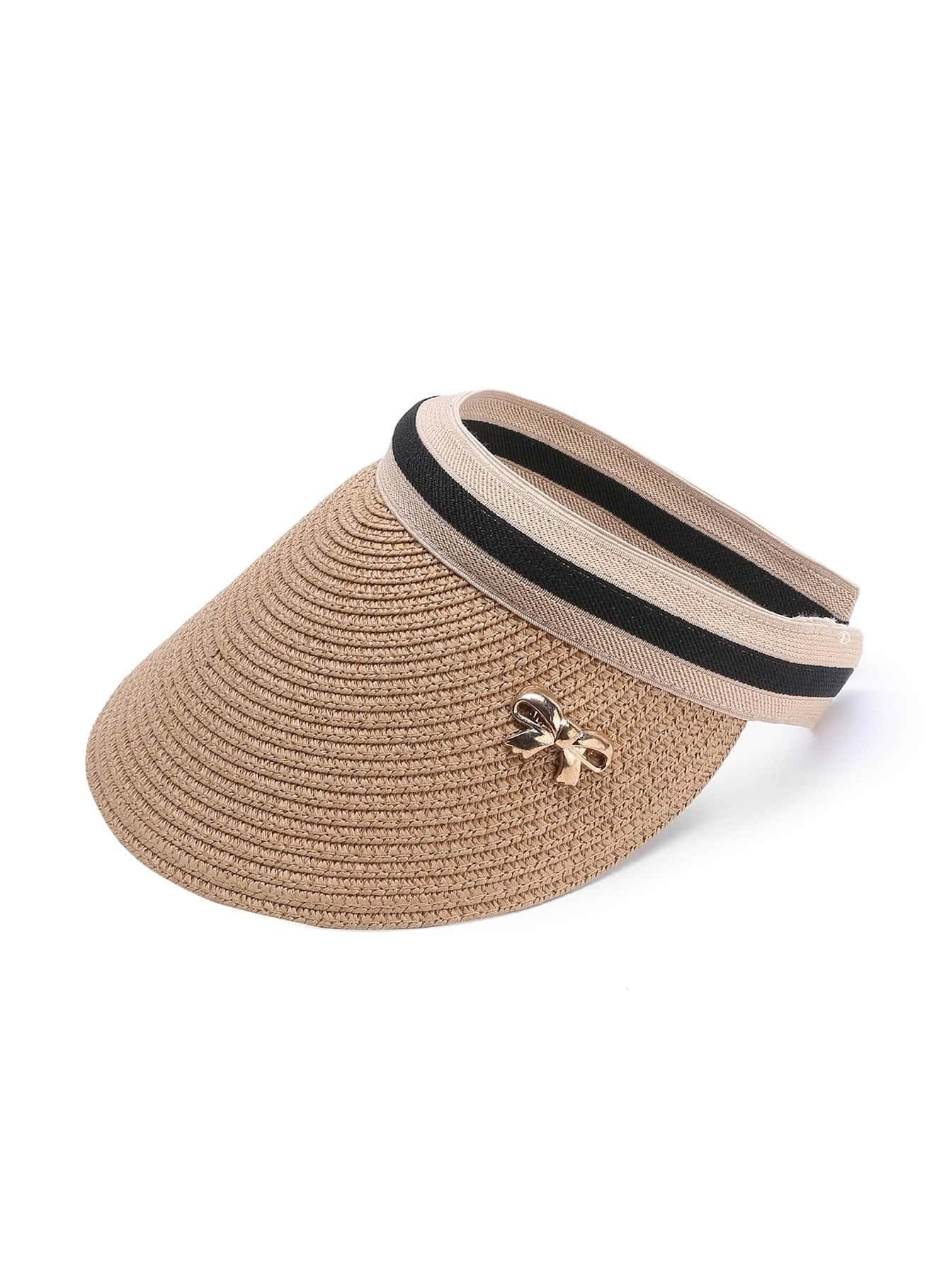 Image of Bow Embellished Straw Visor Hat