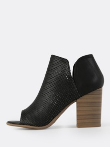 Perforated Peep Toe Booties BLACK