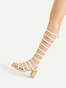 Caged Design Block Heeled Knee High Sandals