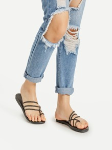 Braided Strap Toe Ring Flat Sliders