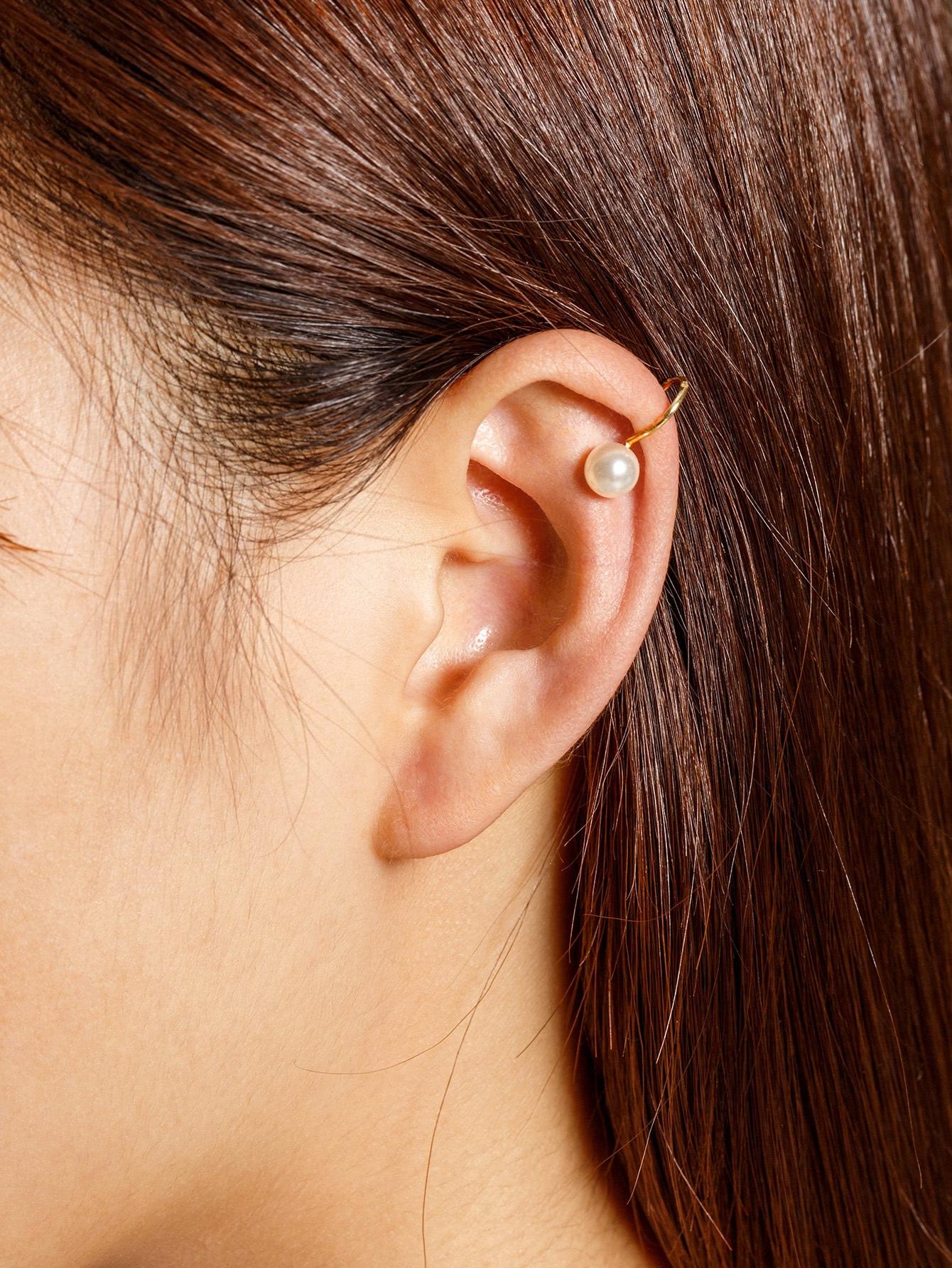 все цены на  Faux Pearl Decorated Ear Cuff 1pcs  онлайн