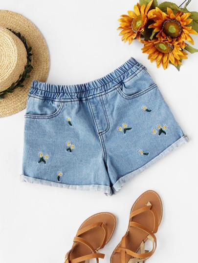 Daisy Embroidered Cuffed Denim Shorts