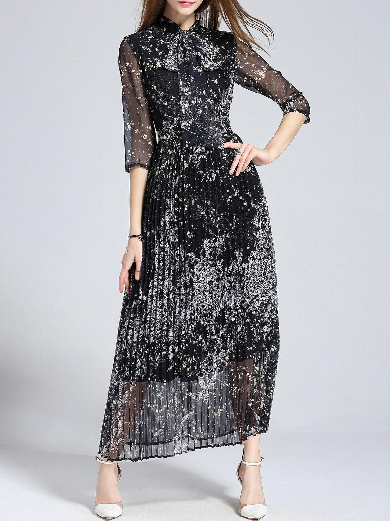 Фото Bowtie Sheer Print Pleated Dress. Купить с доставкой