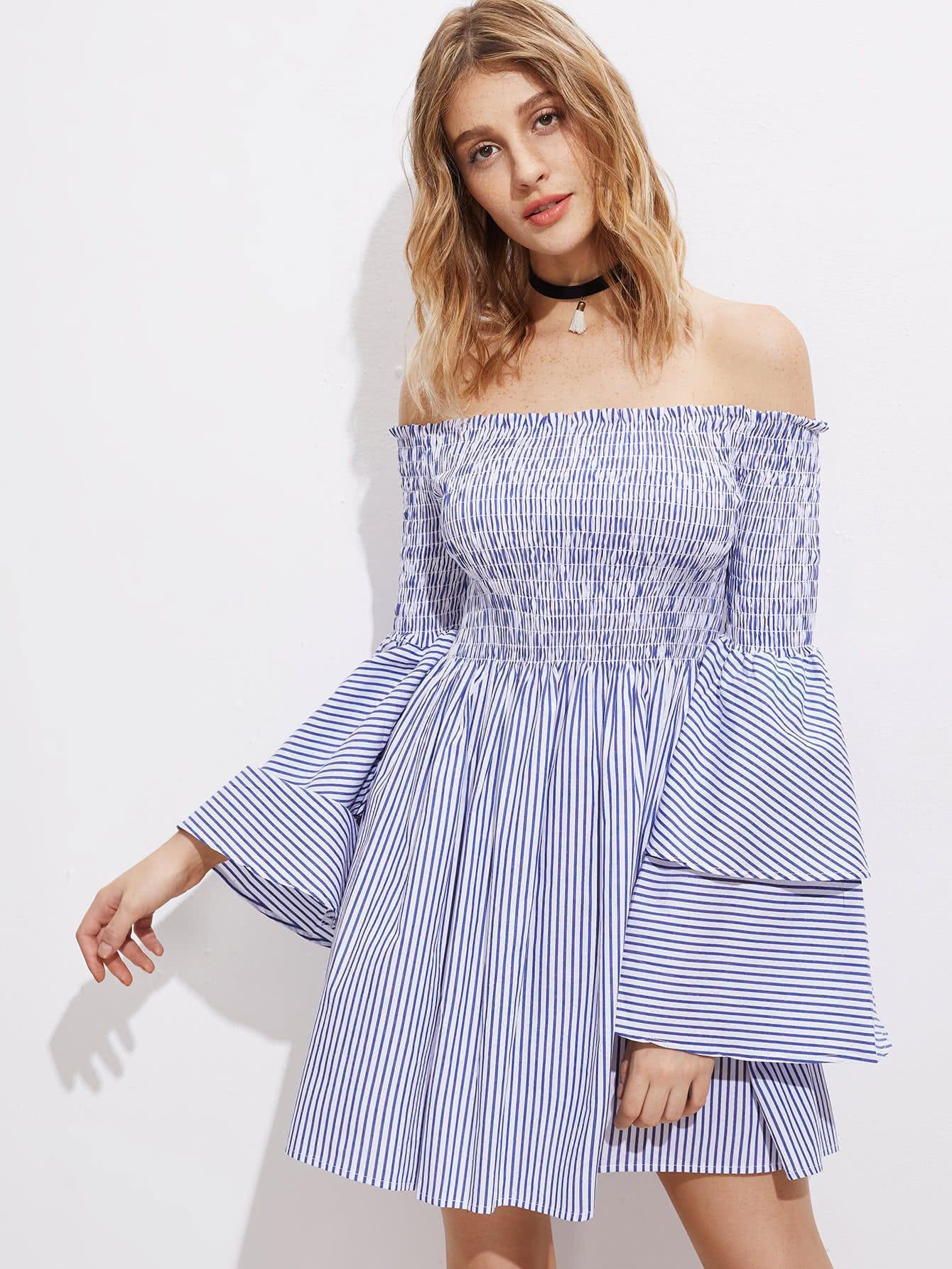 Фото Shirred Off The Shoulder Bell Layered Sleeve Dress. Купить с доставкой