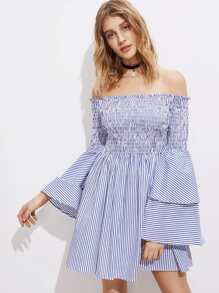 Shirred Off The Shoulder Bell Layered Sleeve Dress