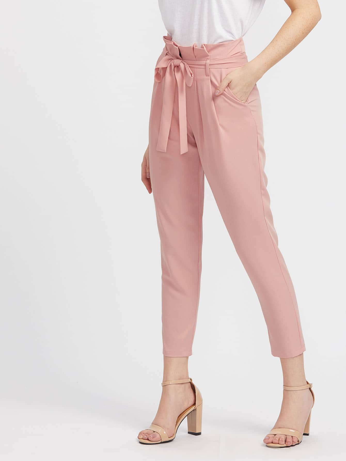 Self Belted Pleated Tailored Pants self belted boxed pleated shorts