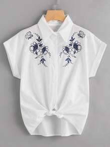 Shirt manchette brodé avec nœud avant