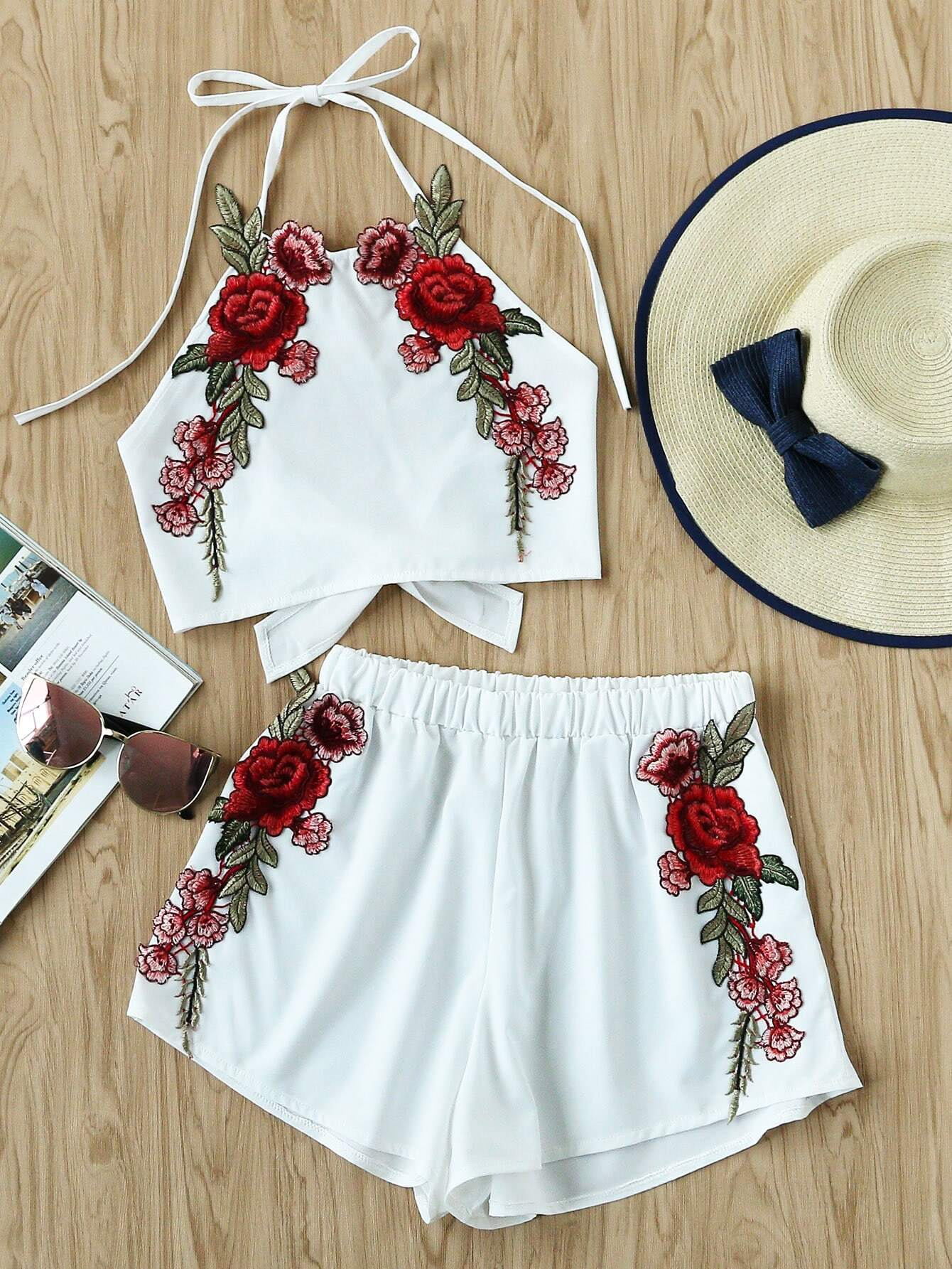 Rose Applique Bow Tie Open Back Top And Shorts Set small rose tie