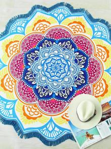 Tapis de la plage color-block imprimé des lotus