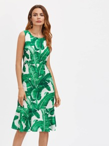 Palm Leaf Print Zipper Back Dress