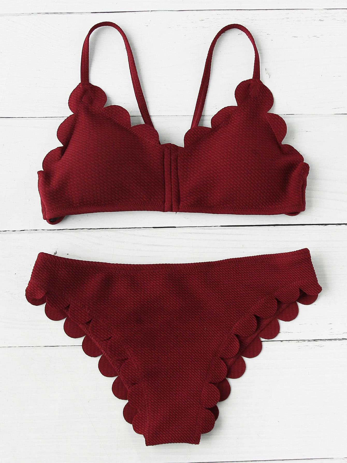 Фото Scalloped Trim Bikini Set. Купить с доставкой