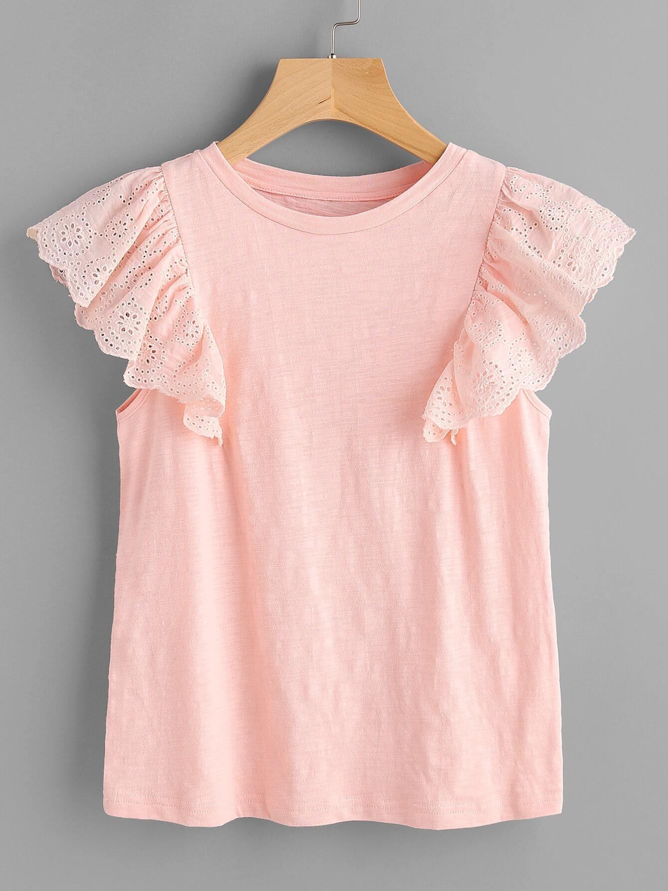 Фото Slub T-shirt With Eyelet Embroidered Ruffle Cap Sleeve. Купить с доставкой