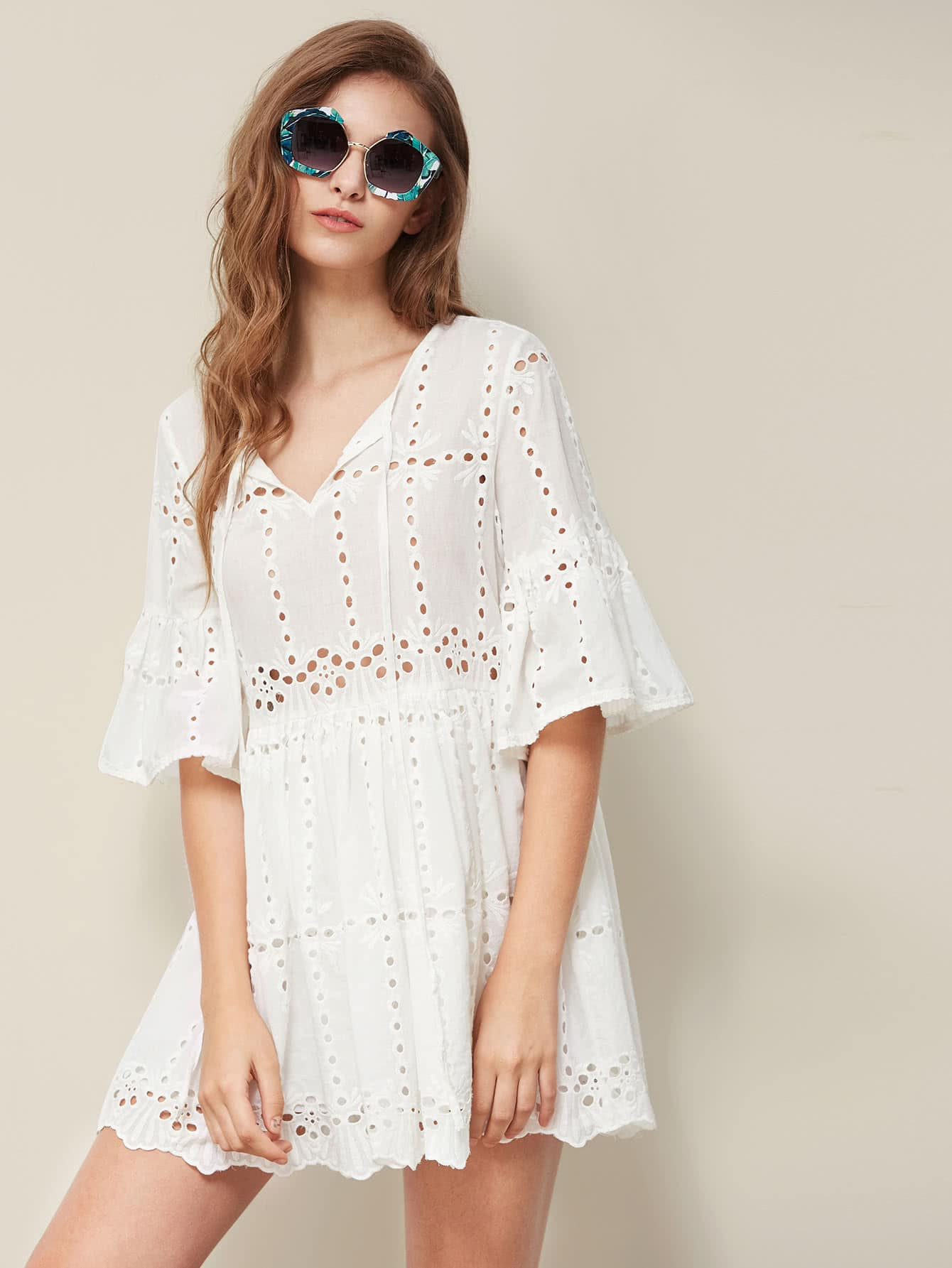 http://us.shein.com/Tie-Neck-Fluted-Sleeve-Eyelet-Embroidered-Smock-Dress-p-361503-cat-1727.html?aff_id=4021